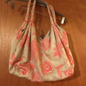 Fun bag - Tan with coral / pink flowers.